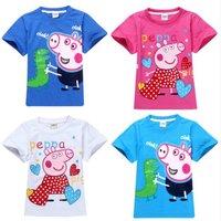 2014 New Arrival Children T shirt White Pink Short Sleeve Cartoon Pattern Baby Clothes Tees Girls 100% Cotton Peppa Pig T-shirt