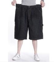 Zipper Casual Loose Jeans Mid Waist Denim Shorts Capris Plus Size Men's Clothing Knee-length Pants Free Shipping
