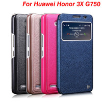 Original Ranvoo brand Open-windows series flip leather cover case for Huawei Honor 3X (G750) Free Shipping
