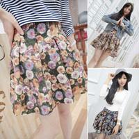 2014 Spring girl short skirt pure rustic flower pleated chiffon high waist small short skirts
