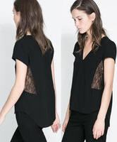 Women's Fashion Sexy V-Neck Both Sides Hollow Lace Black Pullover Short Chiffon Shirts 2014 Spring-Summer New Arrival