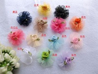 Diy handmade ribbon flower sheer round rose candy box hair accessory pet decoration flower ribbon flower