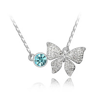 Charm necklace butterfly blue crystal Luxuriant Imitation Gemstone Pendant Long sweater chain Jewelry