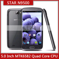 free shipping 5.0 inch HD 1280*720 star n9500 mtk6582 Quad core 1.2Ghz 1GB RAM 4GB ROM star N9500 android 4.2 smart phone