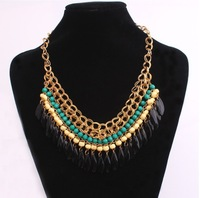 A103 beads layered drop tassel collar choker women necklaces jewelry free shipping 2014