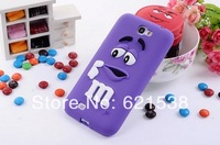 Free Shipping 1pcs Cute M Rainbow Bean Silicone Case Cover for Samsung Galaxy Note2 N7100 +6Colors