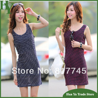 CL-289 Free Shipping New Arrival 2014 Bohemian Clothing Women Summer Slim Polka Dot Dresses