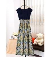 L 2014 decorative pattern high waist skirt length sleeve dress