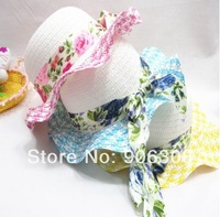 Free Shipping! 2014 New 10pcs/lot Colorful fashion baby/kids sun hats,Straw beanie baby Flower summer hat Children's Cap