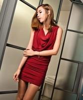 91 2014 heap turtleneck slim all-match dress basic one-piece dress
