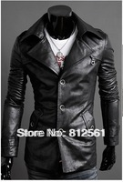 Free shipping2014 Man fur big turndown single breasted quality washed PU leather man cultivate one's morality grow fur clothing