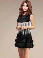 3d full three-dimensional petals tassel vest dress star style