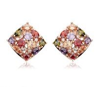 World Pop Nice  AAA 18K Rose Gold Plated Mona Lisa Zircon Drop Earring for Women Multicolor CZ Stones Gift Wholesale Price 03