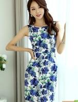 Slim vintage elegant one-piece dress print sleeveless slim hip skirt
