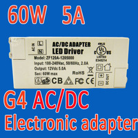 60W 5A 12V DC AC driver transformer for G4 MR16 MR11 bulb spot lighting 100-240v input adapter free shipping