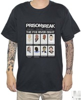 classic American TV series Prison Break Pure cotton Round collar Men's short sleeve T-shirt