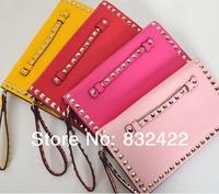 Vintage 2013 genuine leather wallets Women punk rivet design day clutches leather lady evening bag cute bags fashion handbags