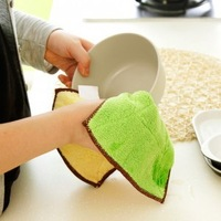 Free shipping Super absorbent cloth soft scouring pad, lint-free microfiber cloth color kitchen cleaning cloth10pcs/lot