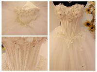 Fashion handmade flower  wedding dress paillette crystal custom