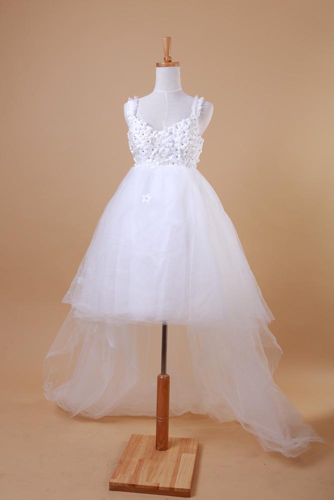 2014 short wedding drees flower low high train maternity wedding dress