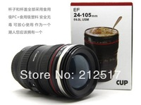Free shipping creative metal tank Camera lens cup Insulation coffee cup Teacup camera vacuum cup