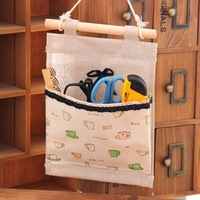 Free shipping Cute bow single pocket cloth pouch wall Bag Bag storage bags hanging storage box 5pcs/lot
