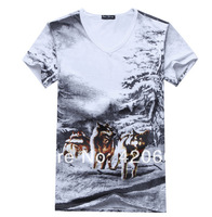 2014 New Style Men Summer T Shirts Brand Print Wolf Shirt High Quality Cotton Colthes Free Shipping