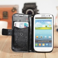 Luxury busniess leather flip stand cover case leather case for samsung galaxy S3 I9300, fashion wallet & cards leather cases .