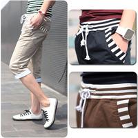 2014 Korean men's drawstring waist and ribbed cuffs Cropped pants casual pants men / 7 pants