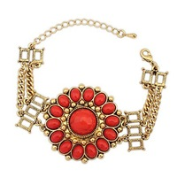 2014 New European Style Hot Sale Women's Bohemian Flower Bracelet,Ethnic Red Bracelets&Bangles Wholesale Free Shipping#104526