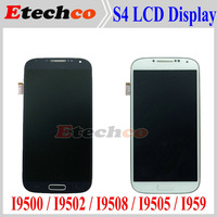 For Samsung GALAXY S4 I9500 LCD Display + touch screen assembly White and blue with frame Free Shipping