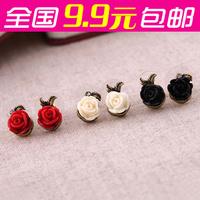 Flower stud earring fashion accessories vintage asymmetrical rose stud earring earrings