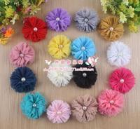 Free shipping!50pcs/los 16colors vintage chiffon shabby look flower rhinestone pearl center for headband hairband hair flower