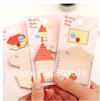 Korea stationery cartoon house greeting sticky notes 20sheets/pcs  memo pad 24Pcs/lot