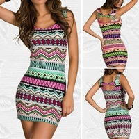 2014 new fashion European women's Indian pattern print multiple colors brilliant sexy slim dress