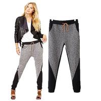 Fashion New 2014 spring autumn gray linen knit cotton sport drawstring women sweatpants elastic waist pencil casual harem pants