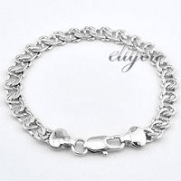 New Fashion Jewelry 8mm Mens Womens Snail Link Chain 18K White Gold Filled Bracelet Gold Jewellery Free Shipping C01WB