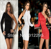 Free Shipping LAN316 Sexy Fashion Women Mini Dress Single Shoulder Clubwear Dance Dress 2014 New High Quality
