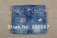 Retail (3-8Y) wholesale kids clothes Denim Skirt, Girls Jeans Skirts Damage Washed Denim skirt children clothing, brand skirts
