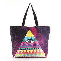 New Women's Unique triangular eyes cloud printing Canvas shoulder bag shopping bag with zipper