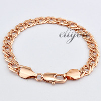 New Fashion Jewelry 7mm Mens Womens Braided Link Chain 18K Rose Gold Filled Bracelet Gold Jewellery Free Shipping C03RB