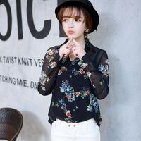 2014 spring fashion print chiffon shirt female long-sleeve turn-down collar loose casual shirt all-match