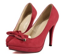 Free shipping 2014 spring new pointed bow women red bottom high heels platform pumps shoes 11.5cm US Size 4-8