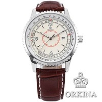 Mg . orkina brief calendar quartz watch genuine leather watchband mens watch vintage casual watch