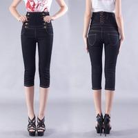 2014 Hot Sale Free Shipping cheap Black Double-breasted Women's Jeans Pants High Waist Denim Capris 7' Pants 7394