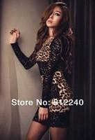 2014 new Spring sexy leopard print lace slim hipone-piece dress sexy nightclubs novelty Leopard mini sheath Dress Free shipping