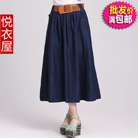 denim clothes water wash denim full dress casual full dress denim bust skirt with belt women's cotton skirt lady clothing