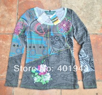 NEW Desigual Women's Star Flower long sleeve gray T-shirt SIZE S M L Xia091