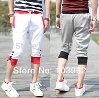 free shipping men sports  trousers cascul pant 50% cotton capri pants size:M-XXL