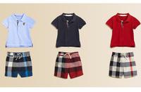 summer boy Two piece suit :short sleeved casual lattice Lapel t shirt+shorts boys 2 pieces sets